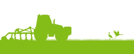 Illustration pour Agriculture tractors plowing the land in cultivated country fields ecology vector concept - image libre de droit