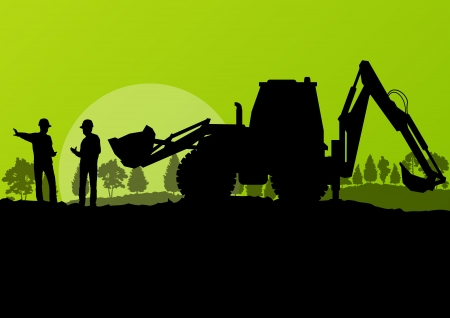Illustration pour Excavator loader and workers digging at construction site with raised bucket vector background - image libre de droit
