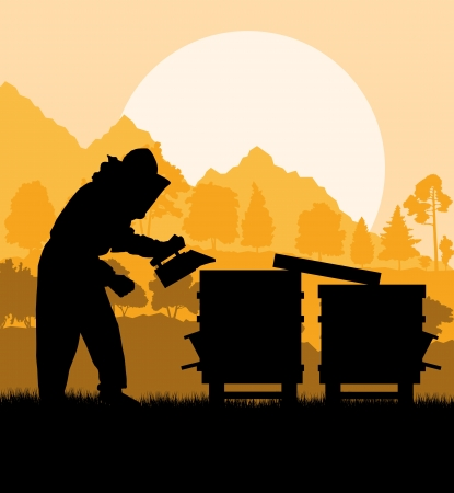 Beekeeper working in apiary background