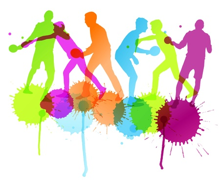 Table tennis player silhouettes ping pong vector background with ink splashes