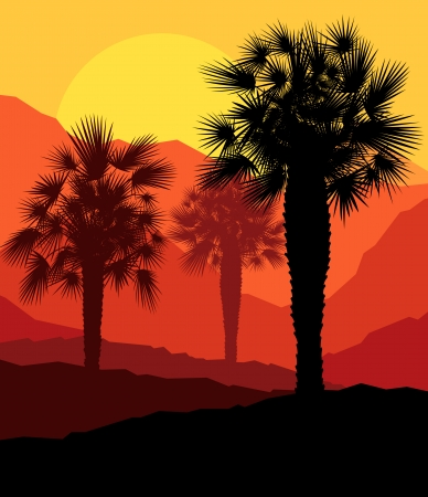 Illustration pour Palms tropical sunset mysterious vector background landscape - image libre de droit