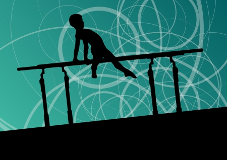 Active children sport silhouette on parallel bars