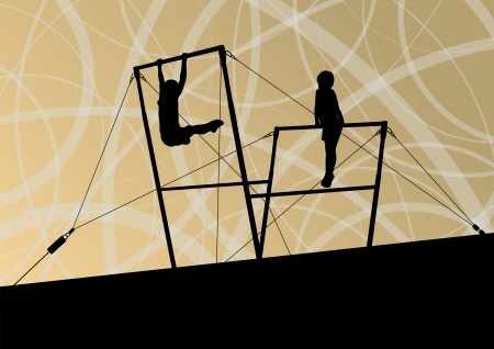 Active children sport silhouettes on uneven bars