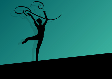 active young girl calisthenics sport gymnast silhouette in