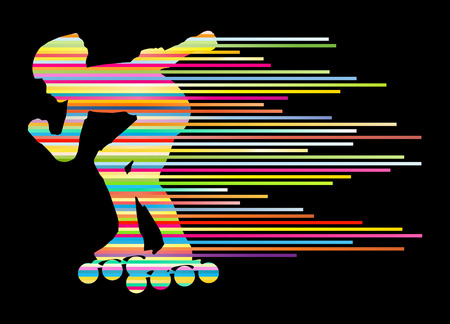 Roller skating silhouettes vector background winner concept made of stripes