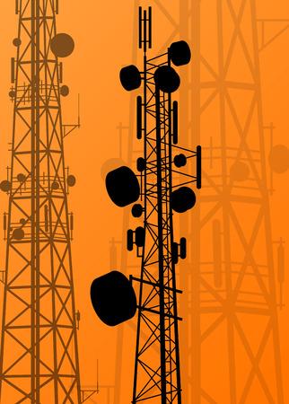 Illustration pour Communication transmission tower radio signal phone antenna vector - image libre de droit