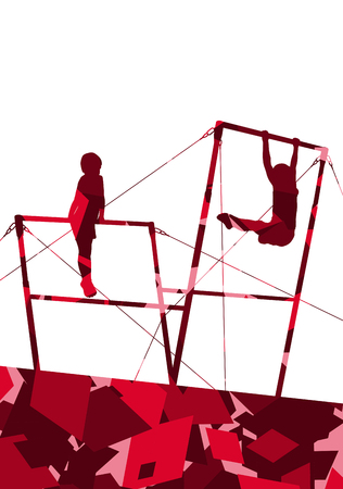 Active children sport boy silhouettes on uneven bars in abstract mosaic background illustration vector