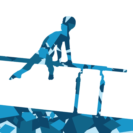 Active children boy sport silhouette on parallel bars in abstract mosaic background illustration vector