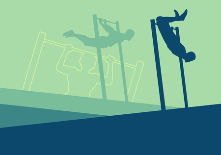 Street gymnastics horizontal bar workout man training vector abstract background