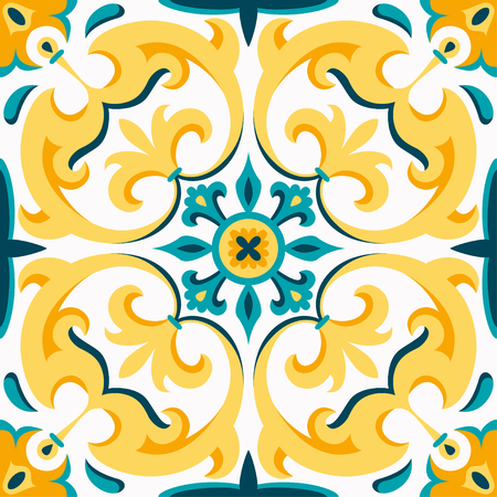 Illustration for Oriental traditional ornament, Mediterranean seamless pattern, tile design, vector illustration. Yellow, blue and white background. - Royalty Free Image