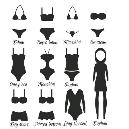 Swimsuits models. Popular swimwear types for women
