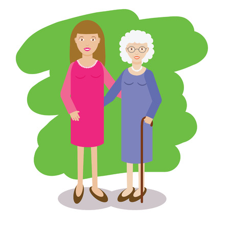 Illustration for Woman and gray-haired old lady vector illustration. Family theme. Yong woman with grandmother. Grandmother with cane and her granddaughter in flat style - Royalty Free Image