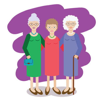 Illustration for Group of aged ladies. Three old women, company of elderly grandmothers. Vector illustration - Royalty Free Image