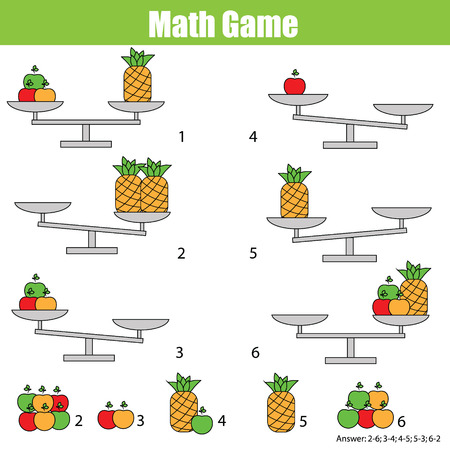 Mathematics educational game for children. Balance the scale. Learning counting, mathematical equation, weights and algebra