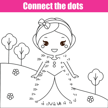 Ilustración de Connect the dots children educational drawing game. Dot to dot by numbers game for kids. Printable worksheet activity for toddlers with princess - Imagen libre de derechos