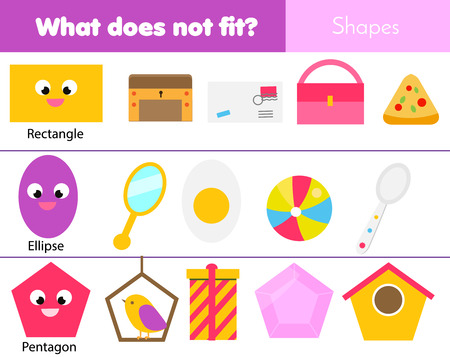 Illustration pour Educational children game. Logic game. What does not fit type. learning geometric shapes for kids and toddlers. - image libre de droit