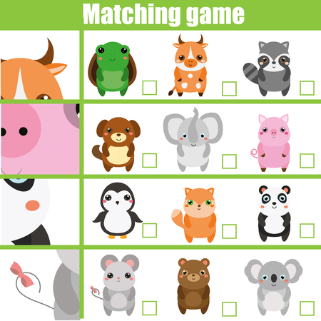 Illustration pour Matching game. Educational children activity with cute animals. Learning whole and parts. Find parts of animals - image libre de droit