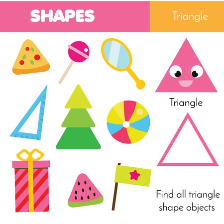 Photo pour Educational children game. Learning geometric shapes for kids. Triangle - image libre de droit