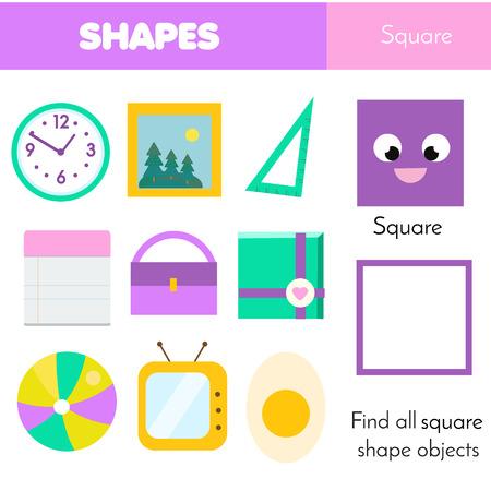 Illustration pour Educational children game. Learning geometric shapes for kids. Square - image libre de droit