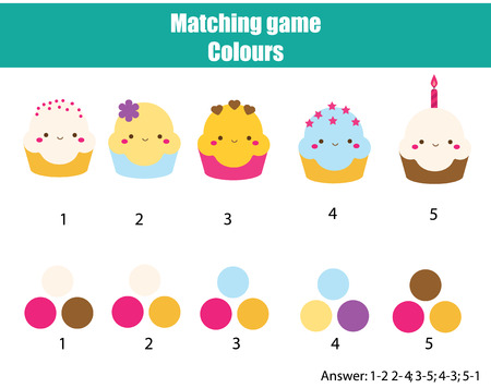 Photo pour Educational children game. Matching game worksheet for kids. Match by color. Find pairs of cupcakes and colours - image libre de droit