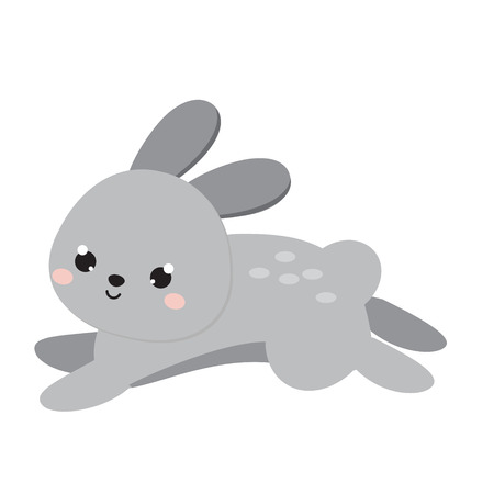 Foto de Cute hare jump. Cartoon forest animal isolated on white. - Imagen libre de derechos