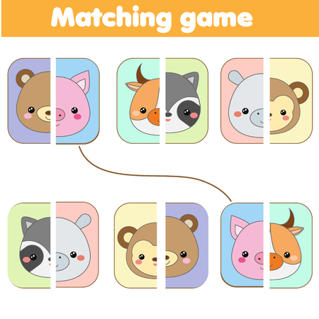 Photo pour Matching educational game. match animals faces. Activity page for kids, children, toddlers. Learning symmetry - image libre de droit