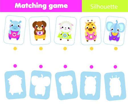 Photo pour Educational children game. Match animals with silhouette. Fun page for toddlers and preschool kids. Study shapes and shadows - image libre de droit