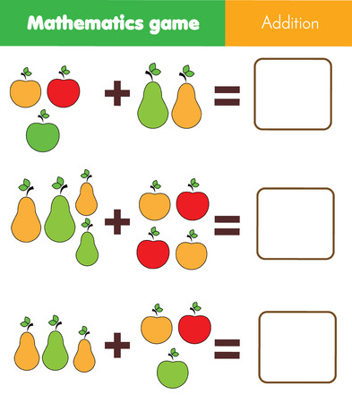 Illustration pour Math educational game for children. Counting equations. Addition worksheet with fruits - image libre de droit