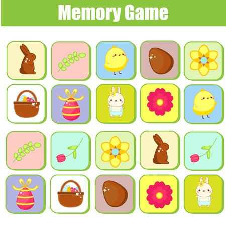 Illustration pour Memory game for toddlers. Educational children game. Easter theme. Find pairs of same picture - image libre de droit