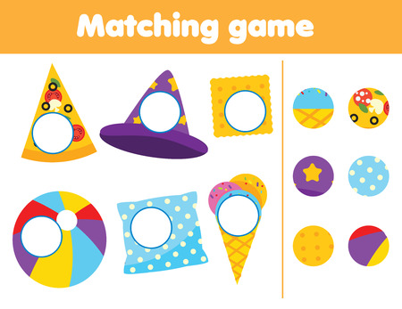 Photo pour Matching children educational game. Find missing parts of objects. Activity for kids and toddlers - image libre de droit