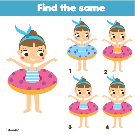 Photo pour Children educational game. Find two same pictures. Summer holidays theme. Activity fun page for toddlers and babies - image libre de droit