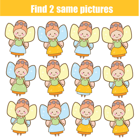 Photo pour Children educational game. Find two same pictures. Cute fairy. Activity fun page for toddlers and babies - image libre de droit