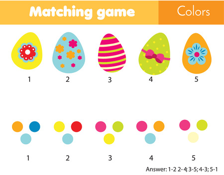 Photo pour Matching children educational game. Match eggs by color. Easter theme activity for kids and toddlers - image libre de droit