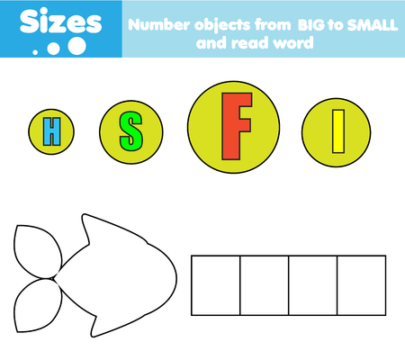 Photo pour educational children game. Match by size. Learning activity for kids and toddlers. Study big and small. - image libre de droit