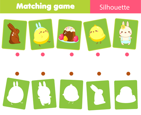 Photo pour Matching game. Match Easter objects with silhouette. Educational kids activity. Spring theme fun page for toddlers. - image libre de droit