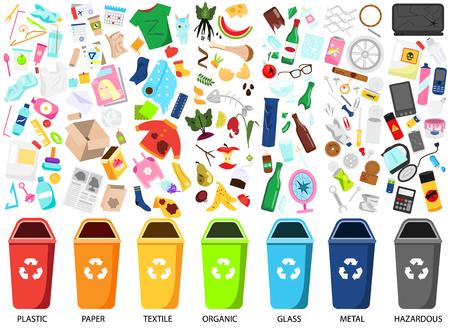 Illustration pour Waste sorting. Big collection of garbage types. Organic, paper, metal, hazardous, textile, glass, plastic trash icons, bins - image libre de droit