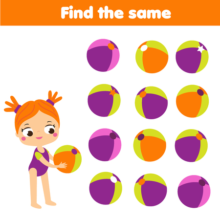 Photo pour Find the same pictures. Find two identical balls. Children educational game. fun for kids and toddlers - image libre de droit