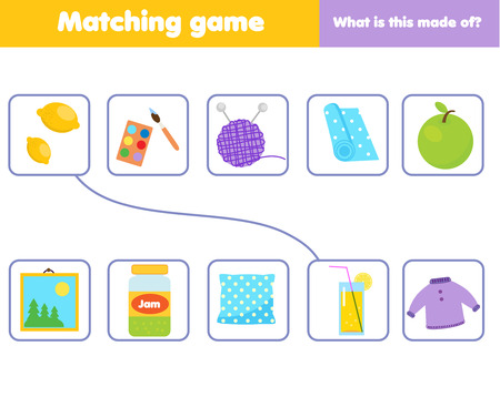 Photo pour Matching children educational game. Match objects with material. What is this made of activity for kids and toddlers. - image libre de droit