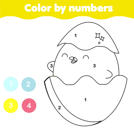 Foto de Coloring page. Color by numbers picture for toddlers and kids. Educational children game. Cartoon little chicken in egg. Easter theme fun page - Imagen libre de derechos