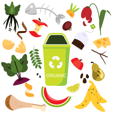Illustration pour Waste sorting. Organic garbage. Food, natural, bones and other trash icons. - image libre de droit