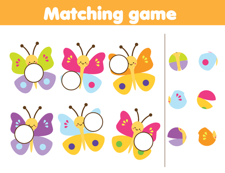 Photo pour Matching children educational game. Match parts of cute buuterflies. Insects theme fun for kids and toddlers. - image libre de droit