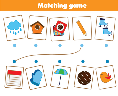 Photo pour Matching children educational game. Match objects parts. Logic test activity for kids and toddlers. - image libre de droit