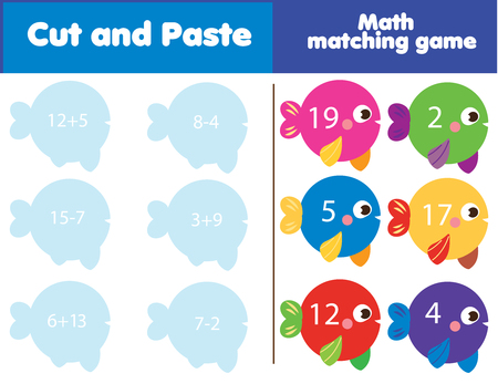 Photo pour Matching children educational game. Match fish and numbers. Mathematics Activity for kids and toddlers. Study addition and subtraction. - image libre de droit