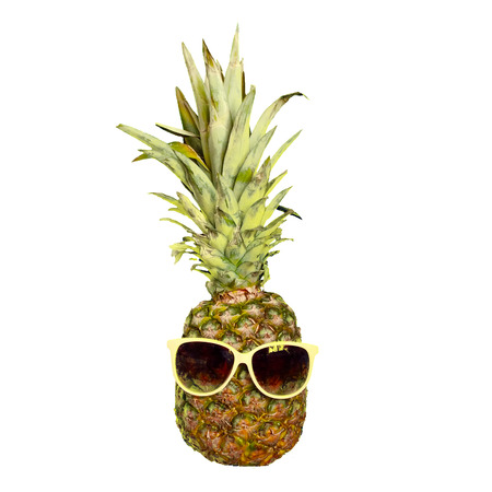 Photo pour Funny Pineapple fruit in sunglasses isolated on white. Tropic summer mood character - image libre de droit