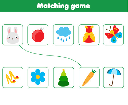 Illustration pour Matching children educational game. Match objects parts. Logic test activity for kids and toddlers. - image libre de droit