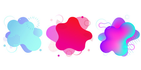 Photo for Gradient fluid shapes isolated on white. Colorful vibrant spots. Modern abstract banner, backgrounds templates isolated on white - Royalty Free Image