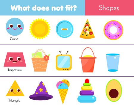 Educational children game. What does not fit type. learning geometric shapes for kids and toddlers. Circle, trapezium, triangle