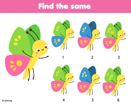 Photo pour children educational game. Find the same pictures. spot identical butterflies. fun for kids and toddlers - image libre de droit