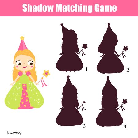 Photo pour Shadow matching game. Find silhouette for princess. activity for toddlers and pre school age kids. - image libre de droit