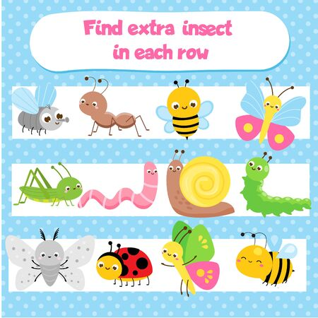 Illustration pour Educational children game for kids and toddlers. What does not fit logic game. Find odd one, extra object. Insect theme. Learning insects - image libre de droit